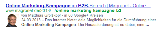 AuthorRank Darstellung in den SERP
