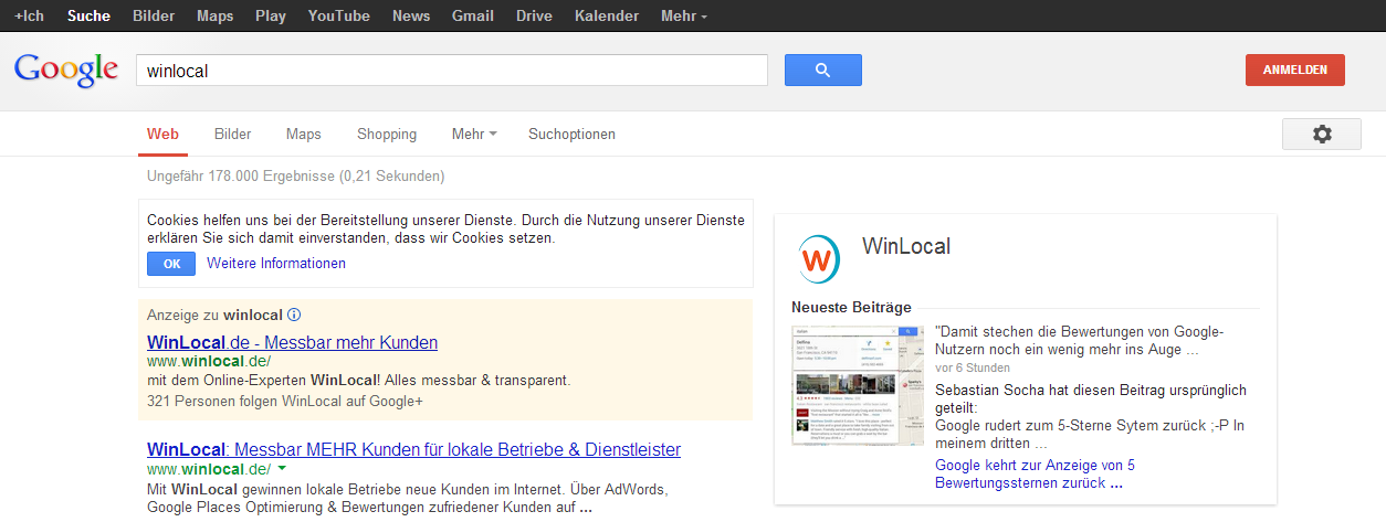 Winlocal Logo Darstellung im Google Knowledge Graph (Suche nach Winlocal)