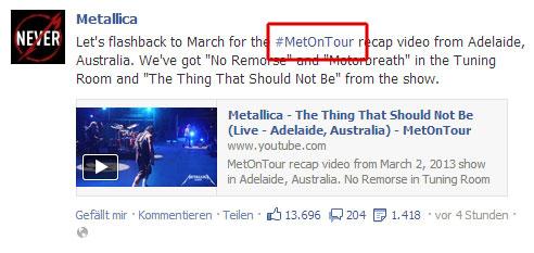 Facebook Hashtag von Metallica