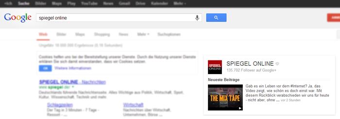 Unternehmen bei Google+ in den Suchergebnissen