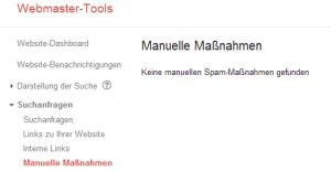 Google Webmaster-Tools Manuelle Maßnahmen gegen Spam