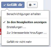Facebook Verbindungs-Einstellungen