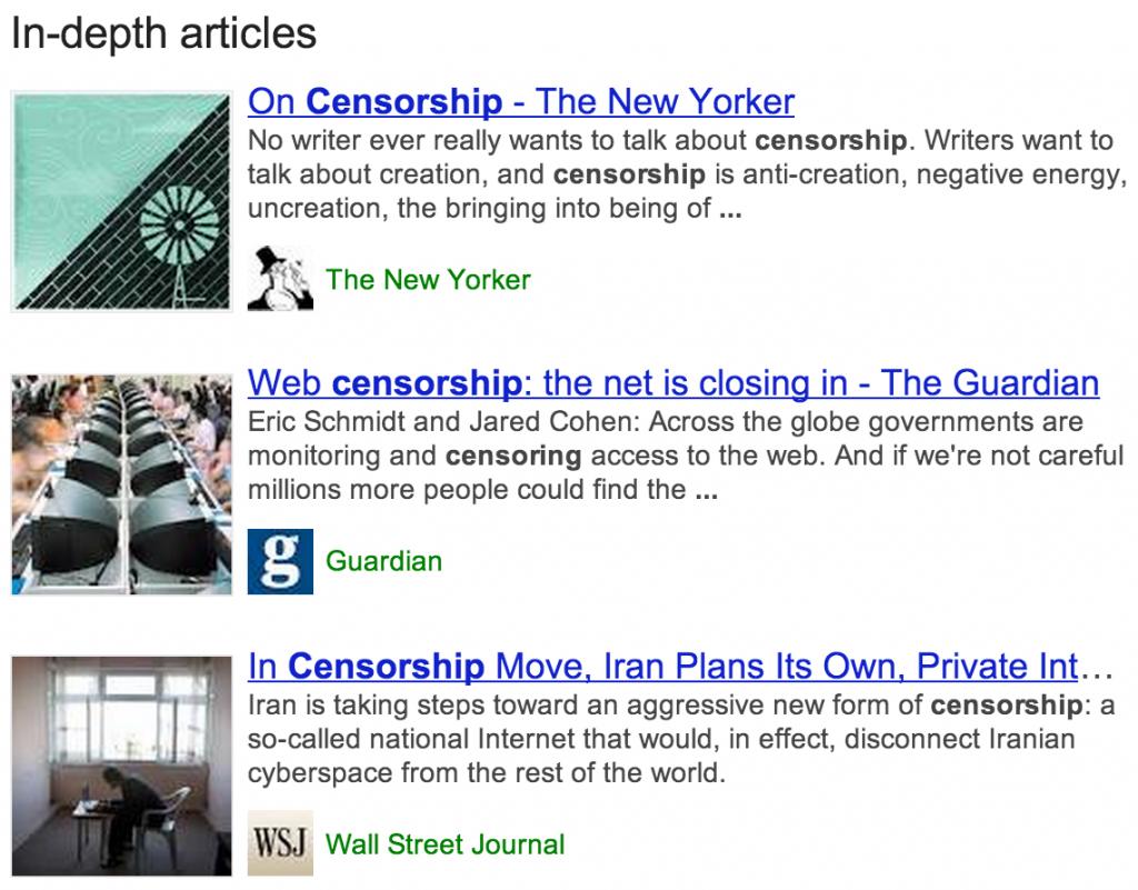 In-Depth Artikel bei Google
