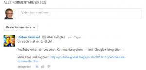 YouTube Kommentare mit Google+ Einbindung