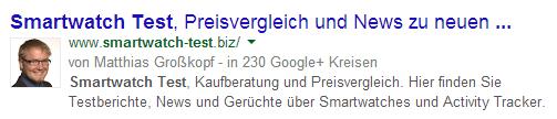 Autorenfoto in den Google Suchergebnissen