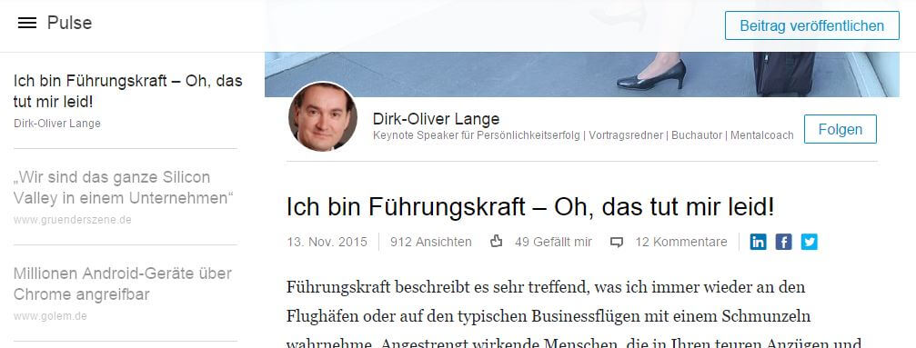 Kann LinkedIn Pulse Corporate Blogs den Rang ablaufen?