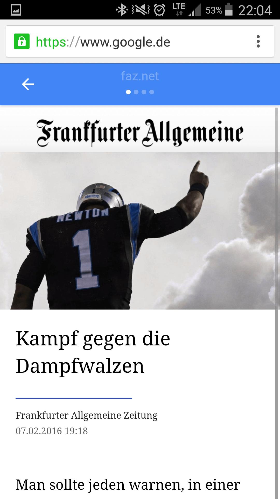 Eine AMP Nachrichtenseite der FAZ
