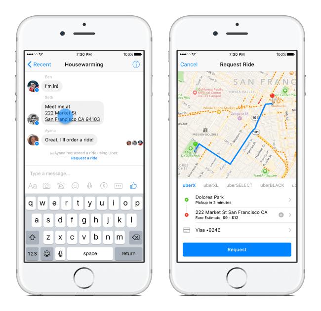 Facebook Messenger Chatbot von Uber