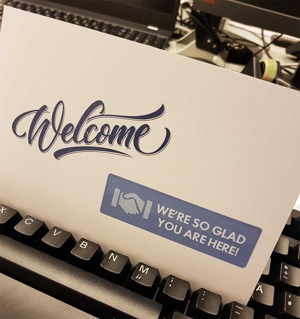 Willkommensgruß im neuen Büro