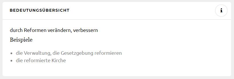 Definiton: reformieren Quelle: Duden.de
