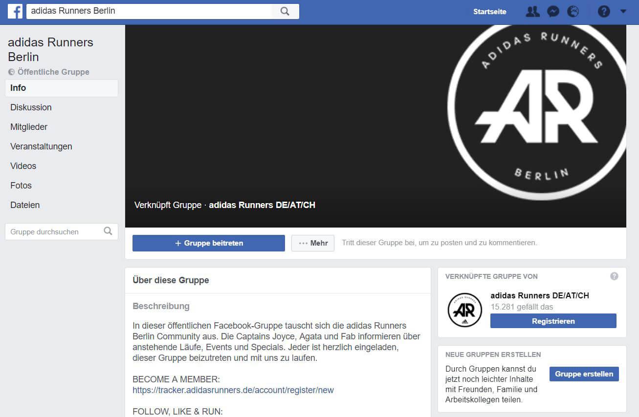 Mehr Reichweite auf Facebook durch Gruppen wie hier bei Adidas